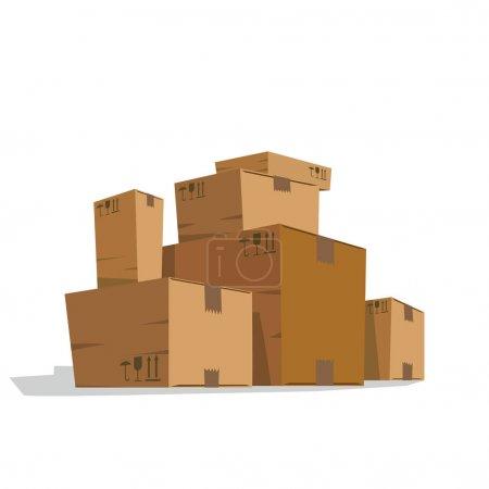 Six light brown cardboard boxes