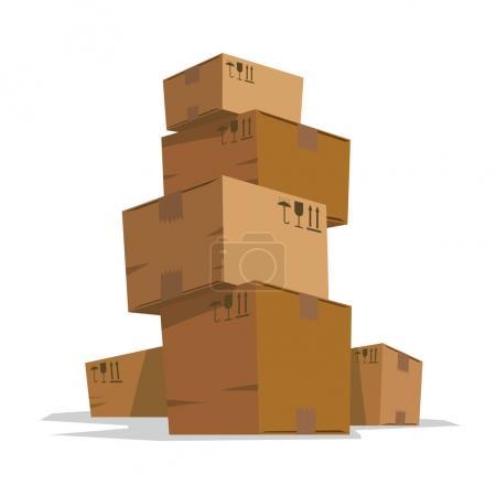 Six medium light brown cardboard boxes like a tower