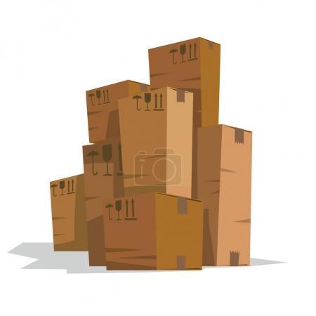 Seven long light brown cardboard boxes