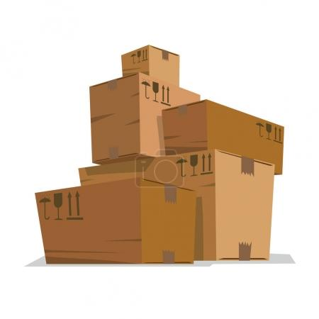 Five big and small light brown cardboard boxes