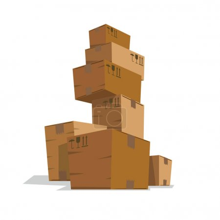 Seven medium light brown cardboard boxes like a tower