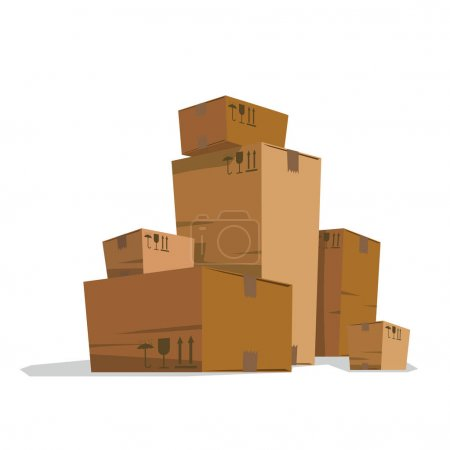 Six big and small light brown cardboard boxes