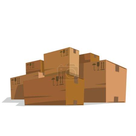 Six huge light brown cardboard boxes