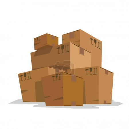 Six big light brown cardboard boxes