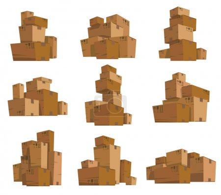 Set of cardboard boxes of different shapes and sizes