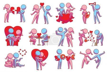 Illustration pour Ensemble vectoriel de douze images de dessins animés de couples aimants : femme rose et homme bleu avec différentes actions sur un fond blanc. Amour, relation, rendez-vous. Image couleur. Icône vectorielle . - image libre de droit