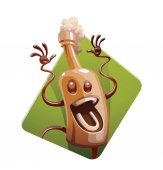 Frame with funny brown bottle of beer happily jumping