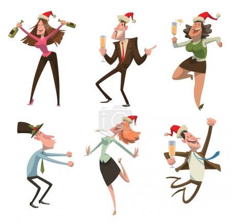 Illustration pour Ensemble vectoriel d'images de dessins animés d'hommes et de femmes dansant dans un chapeau rouge du Père Noël avec du champagne dans les mains sur un fond blanc. Fête d'entreprise, Noël, Nouvel An, bureau. Illustration vectorielle . - image libre de droit