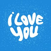 Words I Love you shaped in heart symbol Hand draw lettering vector illustration