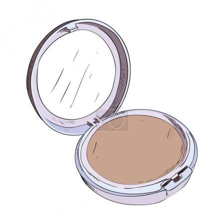 Color sketch of powder box with mirror