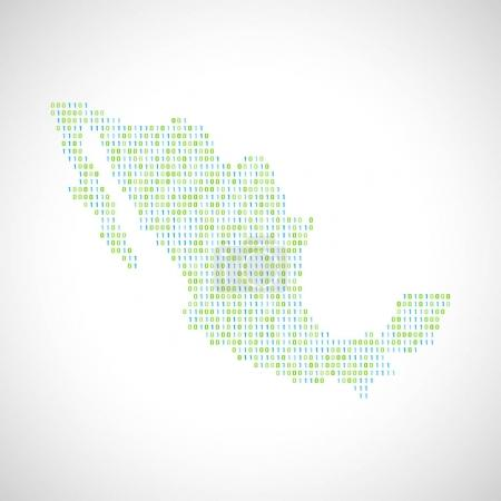 Binary digital map of Mexico