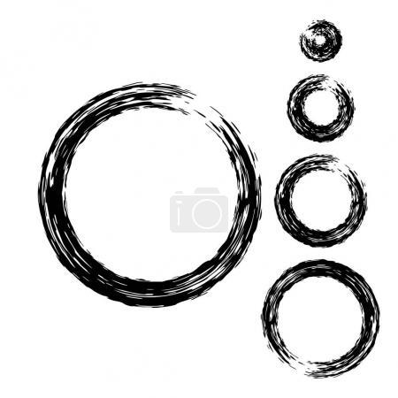 Grunge Circle with Brush. Set of Round Brushes.