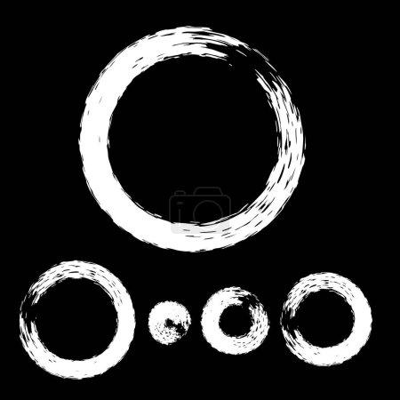 Set of Grunge Circle with White Brush.