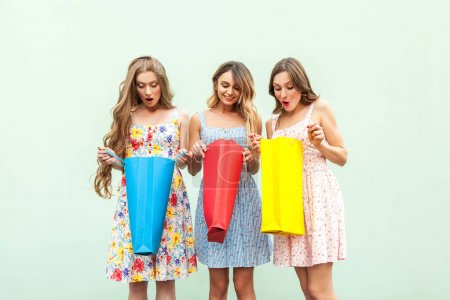 No way! Three sensual woman after shopping. Looking inside hes packets, and wonder, becose thay got gift from shop