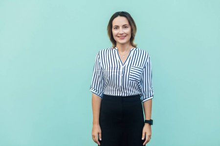 Happiness adult success businesswoman, looking at camera and too