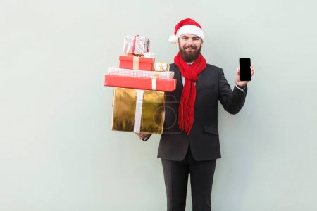 No way! New year sale! Online shopping. Businessman holding hand