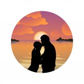 Illustration of beautiful sunset with silhouette couple