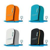 Illustration of set different color fridges on white background