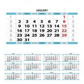 Illustration of blue calendar of 2017 year on white background