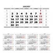 Illustration of grey 2017 calendar on white background