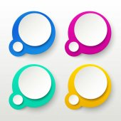 Illustration of set circle papers two colored with shadows on bright background