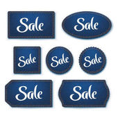 Illustration of set blue color denim textured labels with shadow on white background