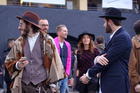 Street style at fashion fair Pitti uomo, Florence January 12, 2017