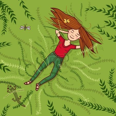 Illustration for Vector girl lying on grass summer illustration. Can be used and printed as card, postcard, placard, poster, invitation - Royalty Free Image