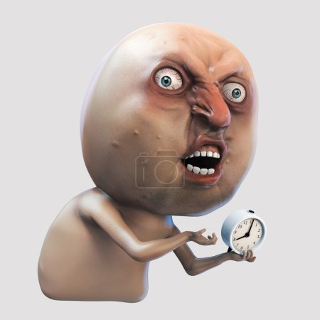 Internet meme Why You No wake me up. Rage face 3d illustration