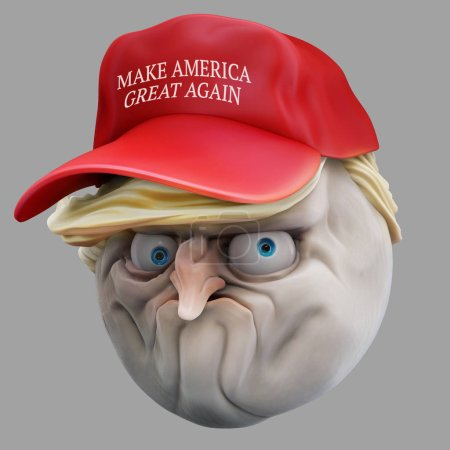 Internet meme No in red hat. Rage face 3d illustration