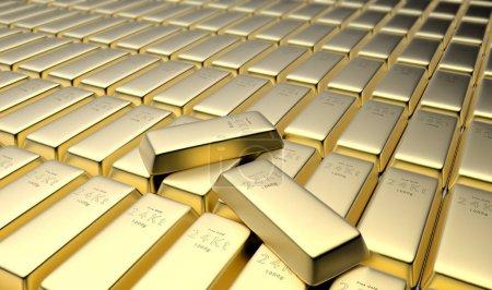 Photo pour Rendu 3D des barres d'or 24 carats dans un caveau - image libre de droit