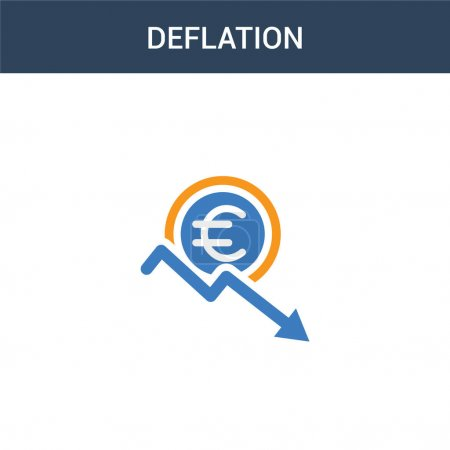 Illustration for Two colored Deflation concept vector icon. 2 color Deflation vector illustration. isolated blue and orange eps icon on white background. - Royalty Free Image