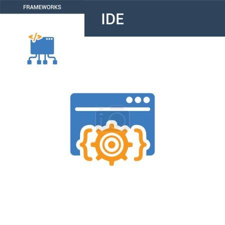 Illustration pour Icône vectorielle concept IDE de deux couleurs. Illustration vectorielle IDE 2 couleurs. isolé bleu et orange eps icône sur fond blanc . - image libre de droit