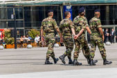 La defense, France - Mai 12, 2007: French military patrol assigned to the surveillance of a business district near Paris. These troops ensure the safety of the citizens and are there in prevention of