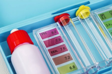 Kit of Ph chlorine and bromide test. Close-up on the test zone f