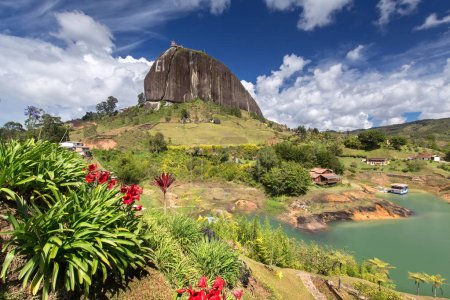 View of The Rock El Penol near the town of Guatape...