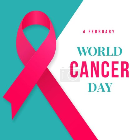 Illustration for World Cancer Day poster background template design with ribbon symbol vector illustration - Royalty Free Image