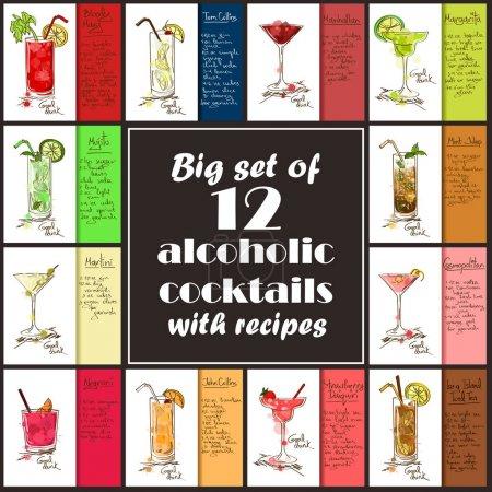 Illustration pour Ensemble de 12 cocktails alcoolisés dessinés à la main. Y compris recettes et ingrédients pour restaurant ou café. Première partie . - image libre de droit