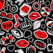 Black red and white fun seamless pattern of girl's fashion stickers emoji pins or patches in cartoon 80s-90s comic style