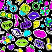 Colorful fun seamless pattern of girl's fashion stickers emoji pins or patches in cartoon 80s-90s comic style