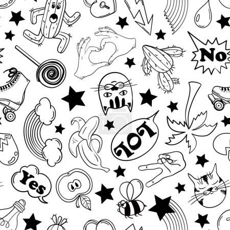 Seamless Pattern Of Fashion Stickers In 80s-90s Comic Style.