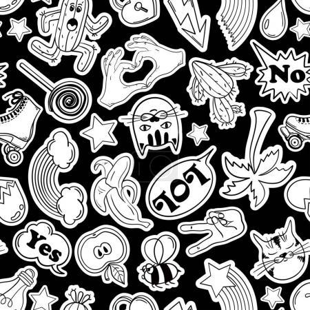 Illustration pour Modèle sans couture drôle noir et blanc d'autocollants de mode, emoji, épingles ou patchs dans le style bande dessinée des années 80-90 . - image libre de droit