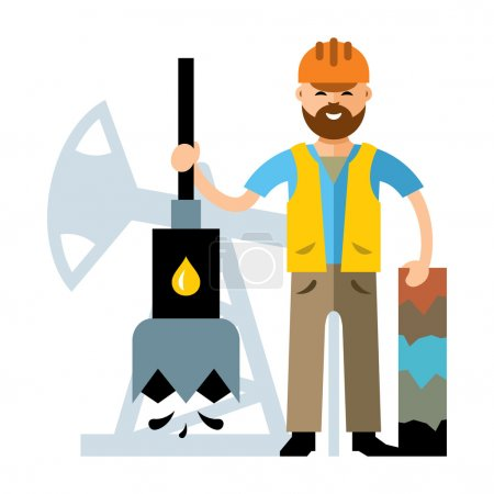 Illustration for Driller lowers the drill and keeps the hole. Isolated on a white background - Royalty Free Image