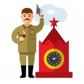 Vector Soviet leader parodic character Flat style colorful Cartoon illustration