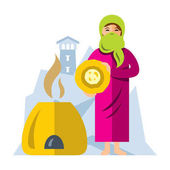 Vector Muslim Arab woman baking bread Flat style colorful Cartoon illustration