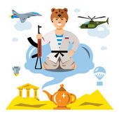 Vector Russian Army in the desert Flat style colorful Comic Cartoon illustration