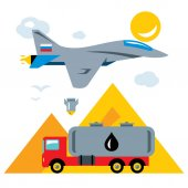 Vector Russian aviation in Syria Abstract Concept Bombing of trucks with oil Flat style colorful Cartoon illustration