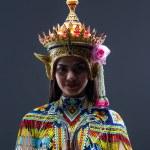 The beautiful woman wearing Thai southern folk dan...