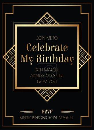 Foto de Diseño geométrico Gatsby Art Deco estilo de invitación de cumpleaños - Imagen libre de derechos