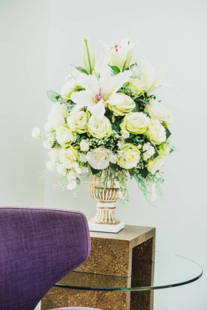 Flower vase on table decoration interior of room